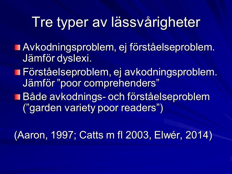 Tre typer av lässvårigheter Avkodningsproblem, ej förståelseproblem.
