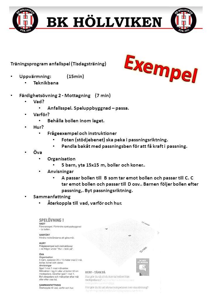 Träningsprogram anfallspel (Tisdagsträning) Uppvärmning:(15min) Teknikbana Färdighetsövning 2 - Mottagning(7 min) Vad.