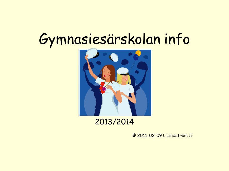 Gymnasiesärskolan info 2013/2014 © 2011-02-09 L Lindström
