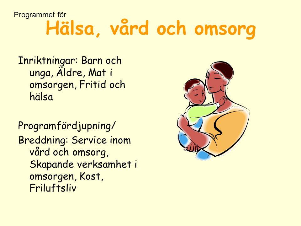 Hälsa, vård och omsorg Inriktningar: Barn och unga, Äldre, Mat i omsorgen, Fritid och hälsa Programfördjupning/ Breddning: Service inom vård och omsorg, Skapande verksamhet i omsorgen, Kost, Friluftsliv Programmet för