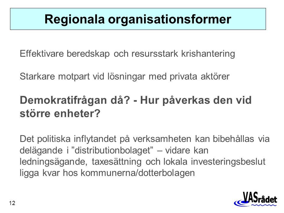 12 Regionala organisationsformer Effektivare beredskap och resursstark krishantering Starkare motpart vid lösningar med privata aktörer Demokratifrågan då.