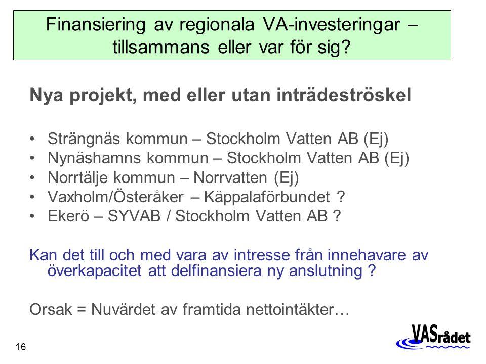 16 Nya projekt, med eller utan inträdeströskel Strängnäs kommun – Stockholm Vatten AB (Ej) Nynäshamns kommun – Stockholm Vatten AB (Ej) Norrtälje kommun – Norrvatten (Ej) Vaxholm/Österåker – Käppalaförbundet .