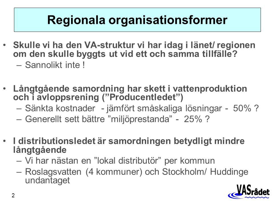 2 Regionala organisationsformer Skulle vi ha den VA-struktur vi har idag i länet/ regionen om den skulle byggts ut vid ett och samma tillfälle.