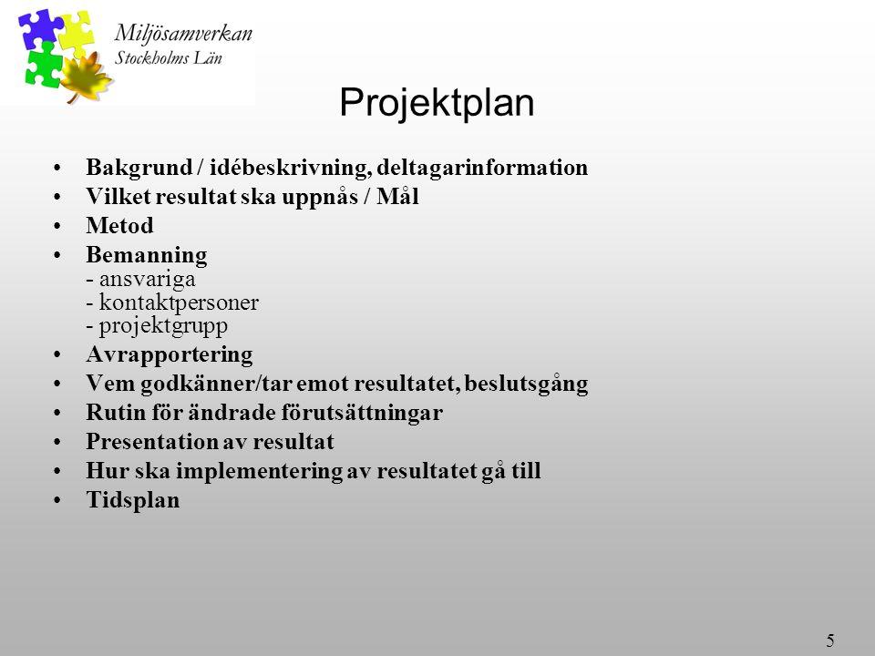 5 Projektplan Bakgrund / idébeskrivning, deltagarinformation Vilket resultat ska uppnås / Mål Metod Bemanning - ansvariga - kontaktpersoner - projektgrupp Avrapportering Vem godkänner/tar emot resultatet, beslutsgång Rutin för ändrade förutsättningar Presentation av resultat Hur ska implementering av resultatet gå till Tidsplan