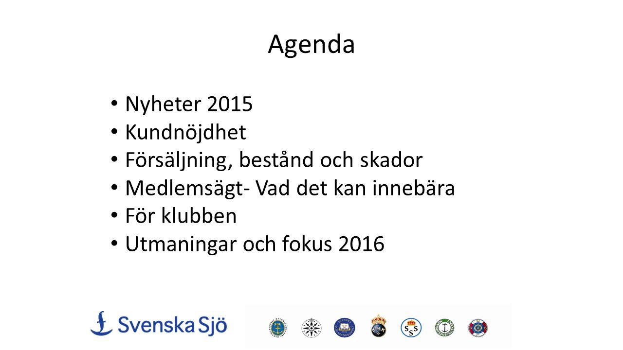 Agenda Nyheter 2015 Kundnöjdhet Försäljning, bestånd och skador Medlemsägt- Vad det kan innebära För klubben Utmaningar och fokus 2016