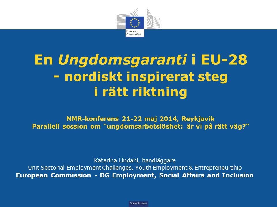 Social Europe Ungdomsarbetslöshet 22.7% i EU-28 (mars 2014) Grekland, Spanien, Kroatien: kring/mer än 50% Österrike, Tyskland, Nederländerna : kring/mindre än 10% Danmark bäst av nordiska MS: 12.6%