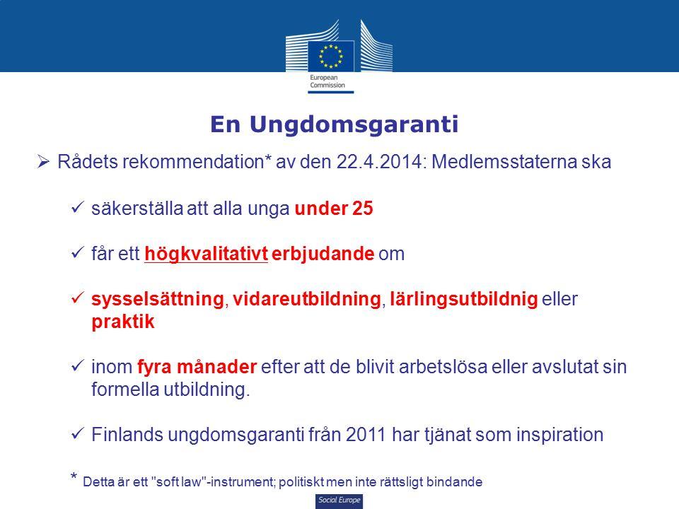 Social Europe En Ungdomsgaranti  Rådets rekommendation* av den 22.4.2014: Medlemsstaterna ska säkerställa att alla unga under 25 får ett högkvalitativt erbjudande om sysselsättning, vidareutbildning, lärlingsutbildnig eller praktik inom fyra månader efter att de blivit arbetslösa eller avslutat sin formella utbildning.