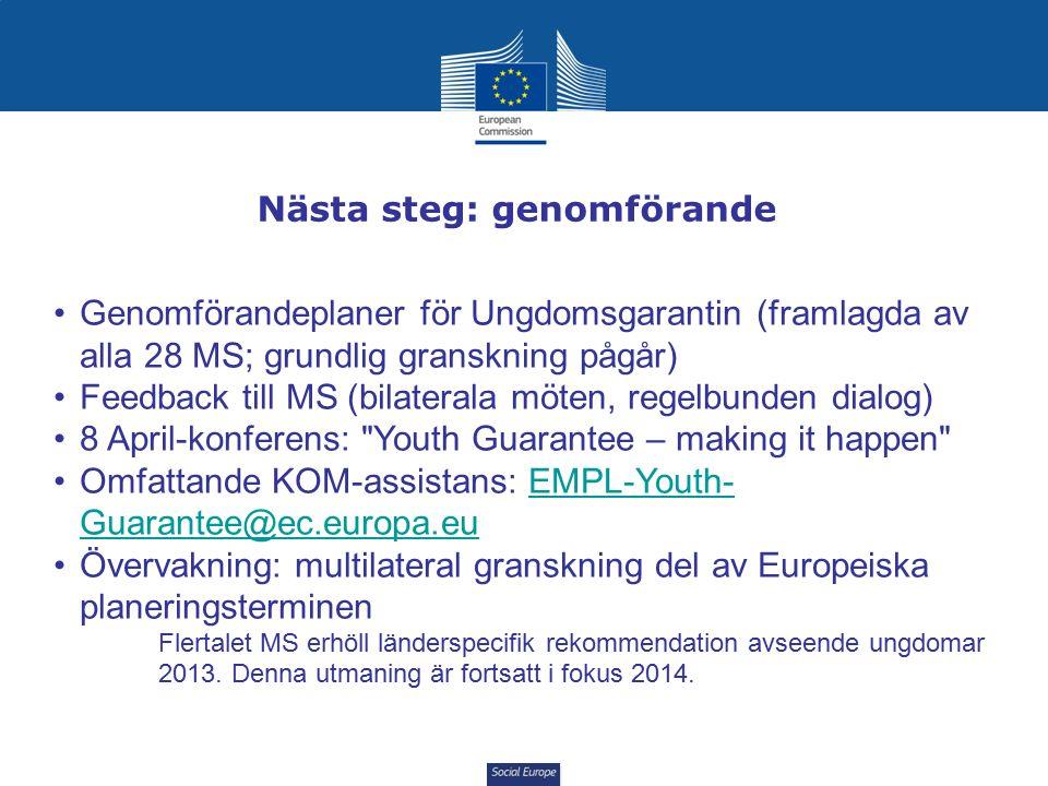 Social Europe Nästa steg: genomförande Genomförandeplaner för Ungdomsgarantin (framlagda av alla 28 MS; grundlig granskning pågår) Feedback till MS (bilaterala möten, regelbunden dialog) 8 April-konferens: Youth Guarantee – making it happen Omfattande KOM-assistans: EMPL-Youth- Guarantee@ec.europa.euEMPL-Youth- Guarantee@ec.europa.eu Övervakning: multilateral granskning del av Europeiska planeringsterminen Flertalet MS erhöll länderspecifik rekommendation avseende ungdomar 2013.