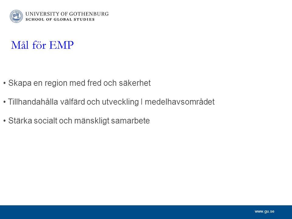 www.gu.se Mål för EMP Skapa en region med fred och säkerhet Tillhandahålla välfärd och utveckling I medelhavsområdet Stärka socialt och mänskligt samarbete