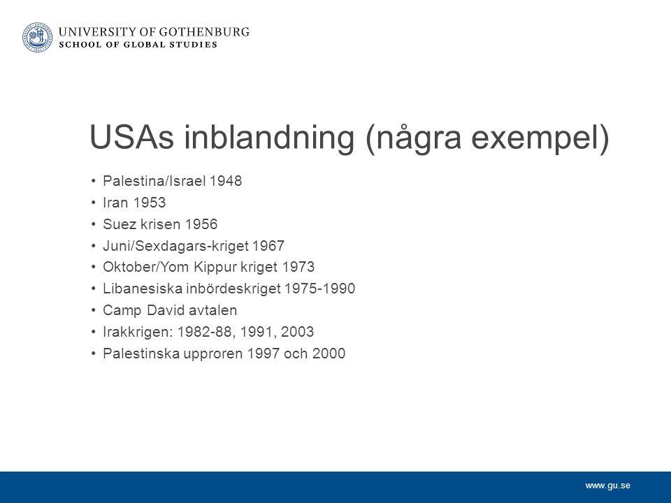 www.gu.se USAs inblandning (några exempel) Palestina/Israel 1948 Iran 1953 Suez krisen 1956 Juni/Sexdagars-kriget 1967 Oktober/Yom Kippur kriget 1973