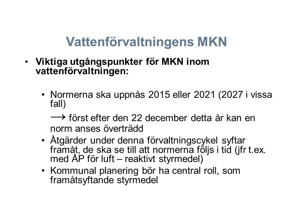 Vattenförvaltningens MKN Viktiga utgångspunkter för MKN inom vattenförvaltningen: Normerna ska uppnås 2015 eller 2021 (2027 i vissa fall) → först efte