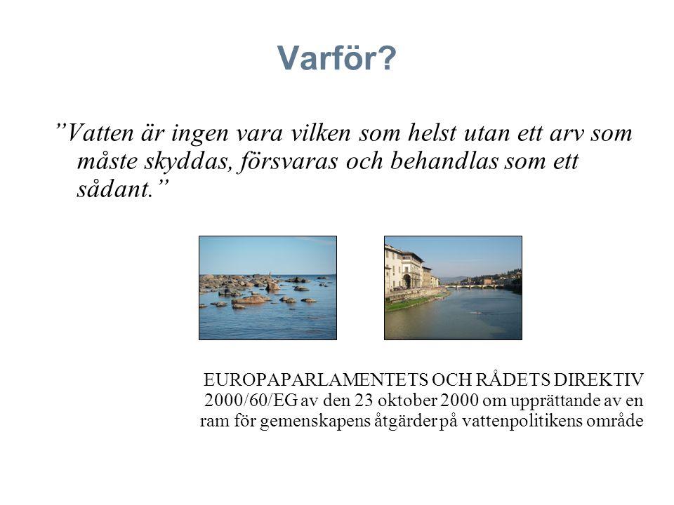 """Varför? """"Vatten är ingen vara vilken som helst utan ett arv som måste skyddas, försvaras och behandlas som ett sådant."""" EUROPAPARLAMENTETS OCH RÅDETS"""