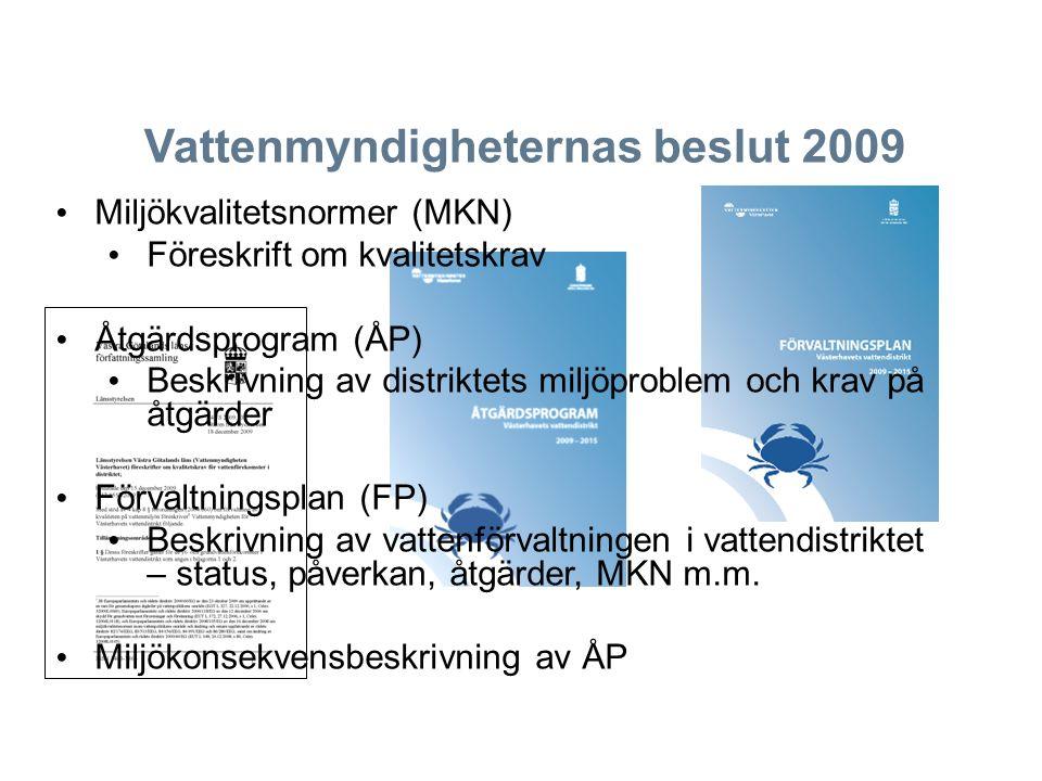 Vattenmyndigheternas beslut 2009 Miljökvalitetsnormer (MKN) Föreskrift om kvalitetskrav Åtgärdsprogram (ÅP) Beskrivning av distriktets miljöproblem oc
