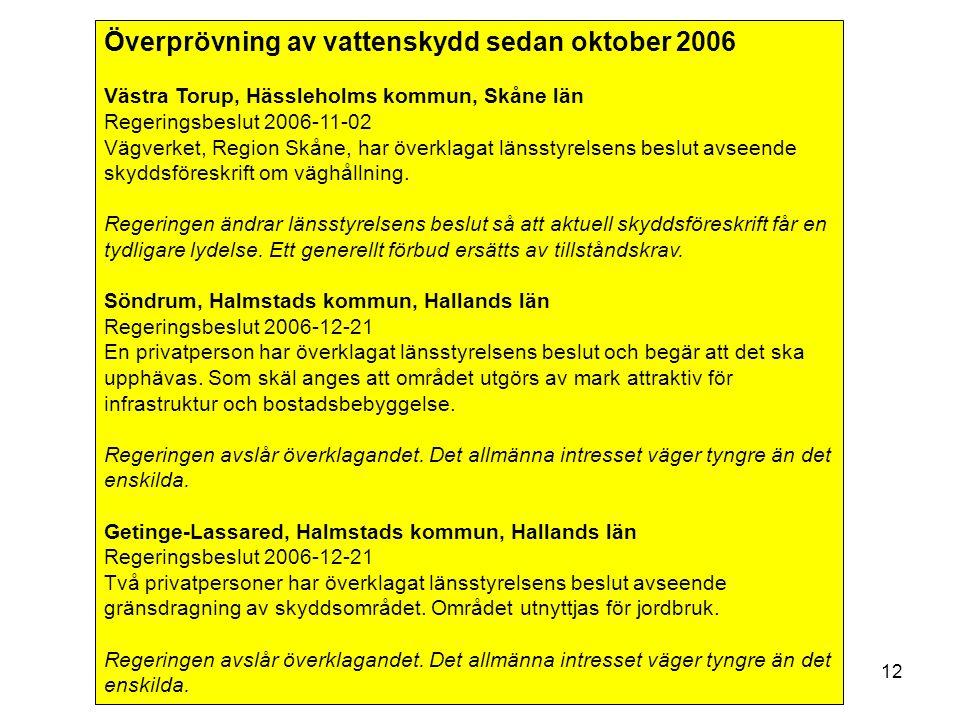VAS-Rådet 8 februari12 Överprövning av vattenskydd sedan oktober 2006 Västra Torup, Hässleholms kommun, Skåne län Regeringsbeslut 2006-11-02 Vägverket