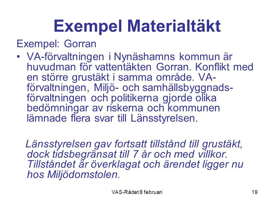 VAS-Rådet 8 februari19 Exempel Materialtäkt Exempel: Gorran VA-förvaltningen i Nynäshamns kommun är huvudman för vattentäkten Gorran. Konflikt med en