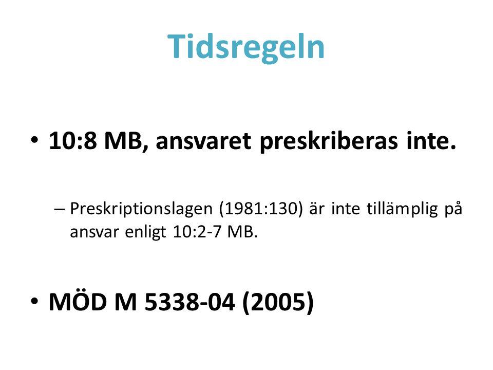 Tidsregeln 10:8 MB, ansvaret preskriberas inte. – Preskriptionslagen (1981:130) är inte tillämplig på ansvar enligt 10:2-7 MB. MÖD M 5338-04 (2005)