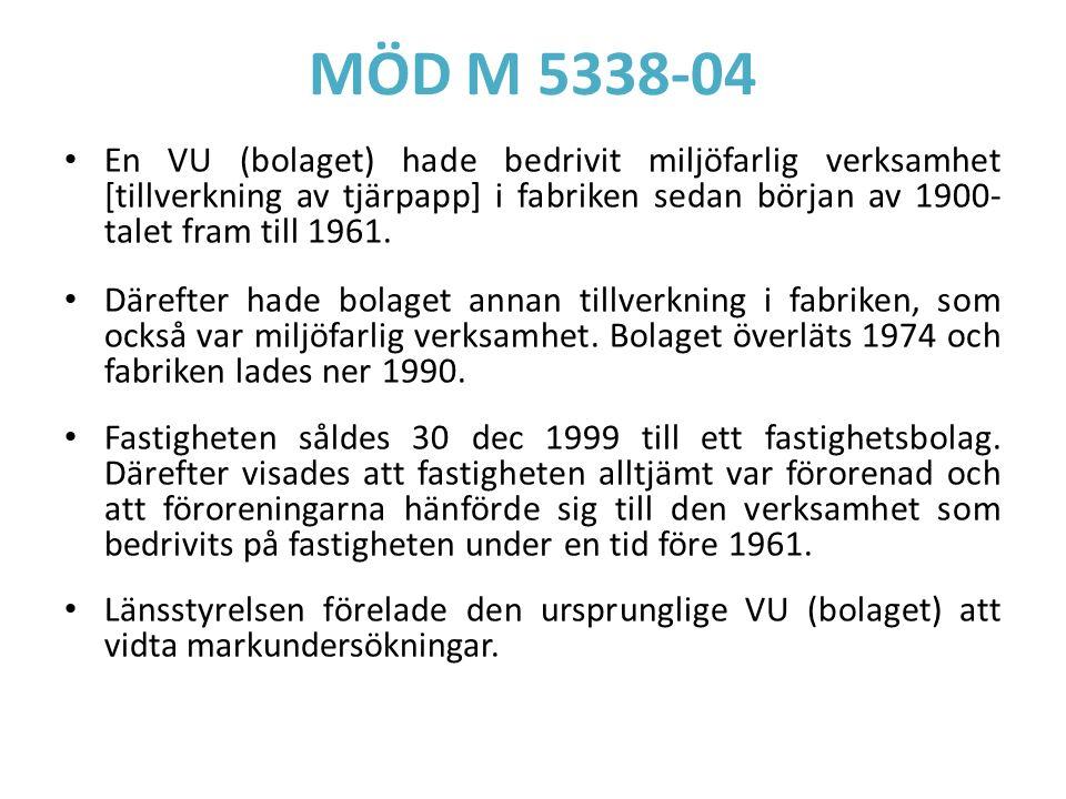 MÖD M 5338-04 En VU (bolaget) hade bedrivit miljöfarlig verksamhet [tillverkning av tjärpapp] i fabriken sedan början av 1900- talet fram till 1961. D