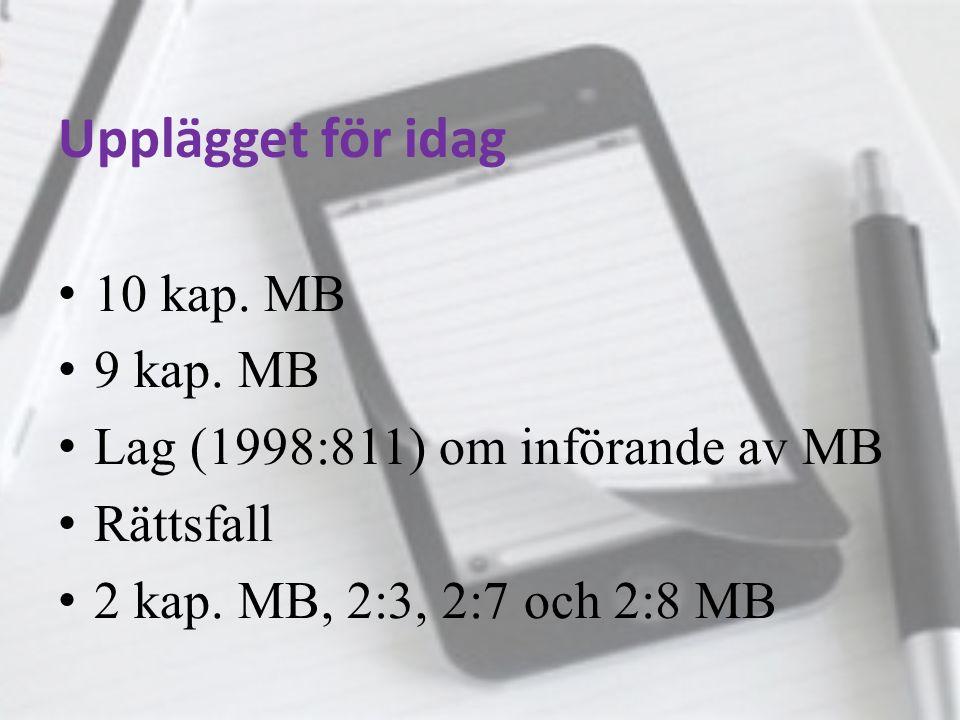 Upplägget för idag 10 kap. MB 9 kap. MB Lag (1998:811) om införande av MB Rättsfall 2 kap. MB, 2:3, 2:7 och 2:8 MB