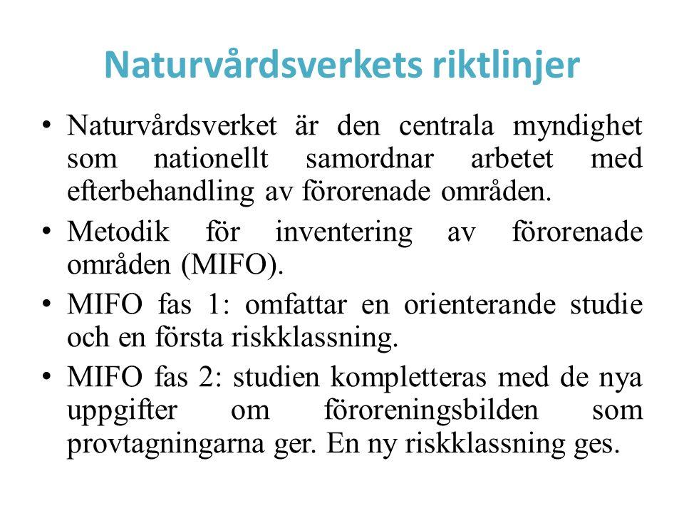 Naturvårdsverkets riktlinjer Naturvårdsverket är den centrala myndighet som nationellt samordnar arbetet med efterbehandling av förorenade områden. Me