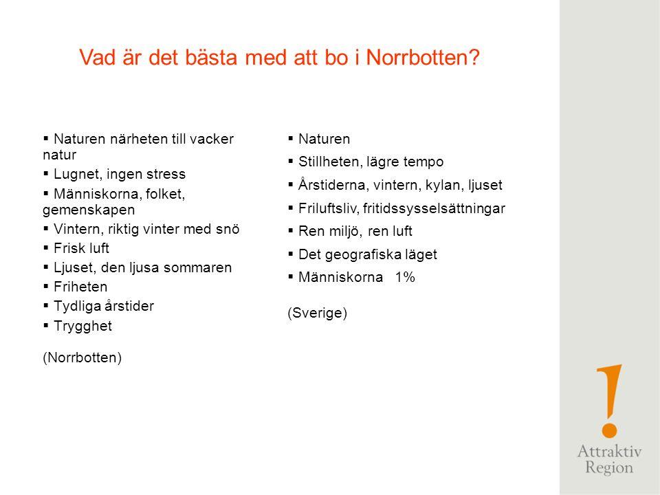 """ Avstånden, """"långt till allt"""", lokalt och till övriga Sverige, världen  Kylan, kallt  För lång vinter  Bristen på arbetstillfällen  Dåliga kommun"""