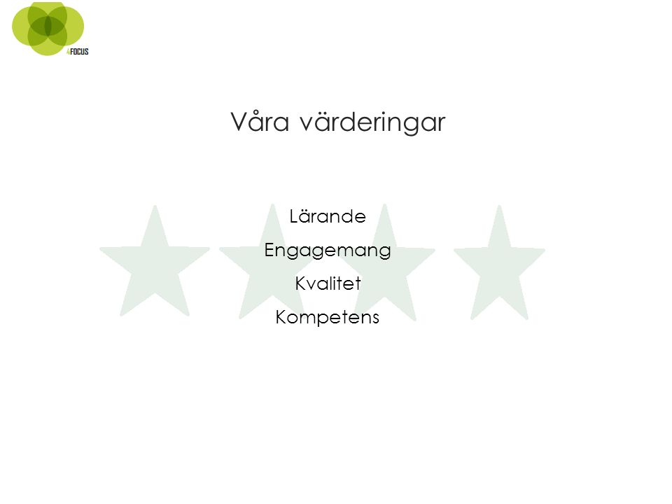 Våra värderingar Lärande Engagemang Kvalitet Kompetens