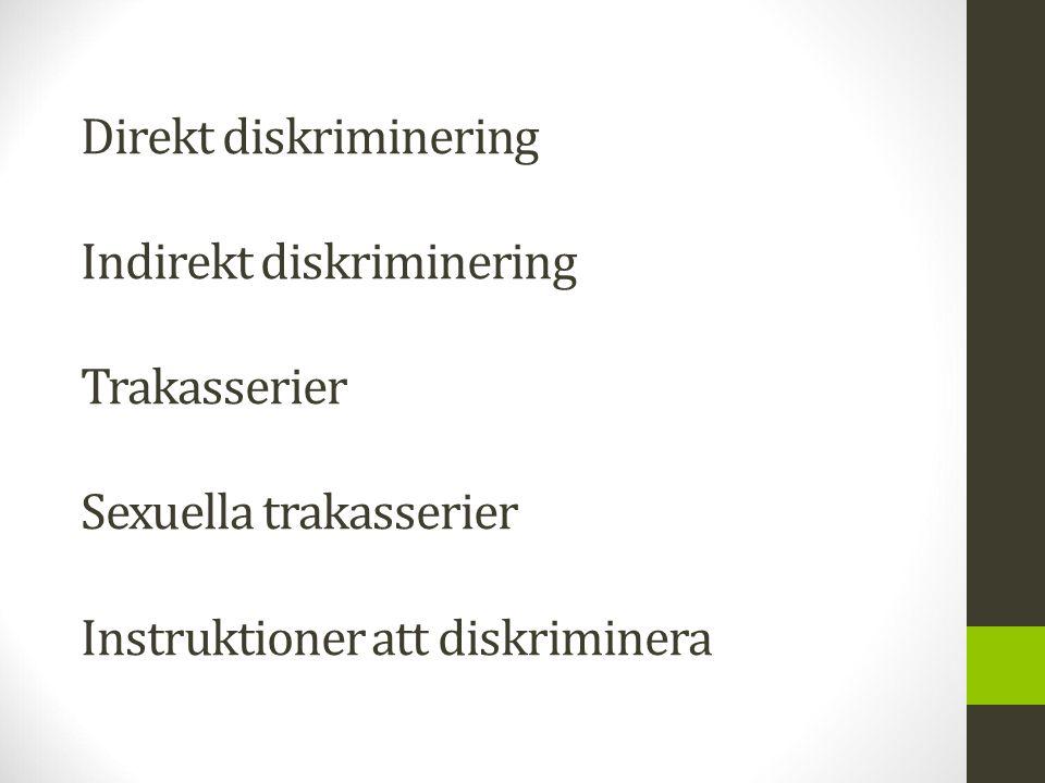Direkt diskriminering Indirekt diskriminering Trakasserier Sexuella trakasserier Instruktioner att diskriminera