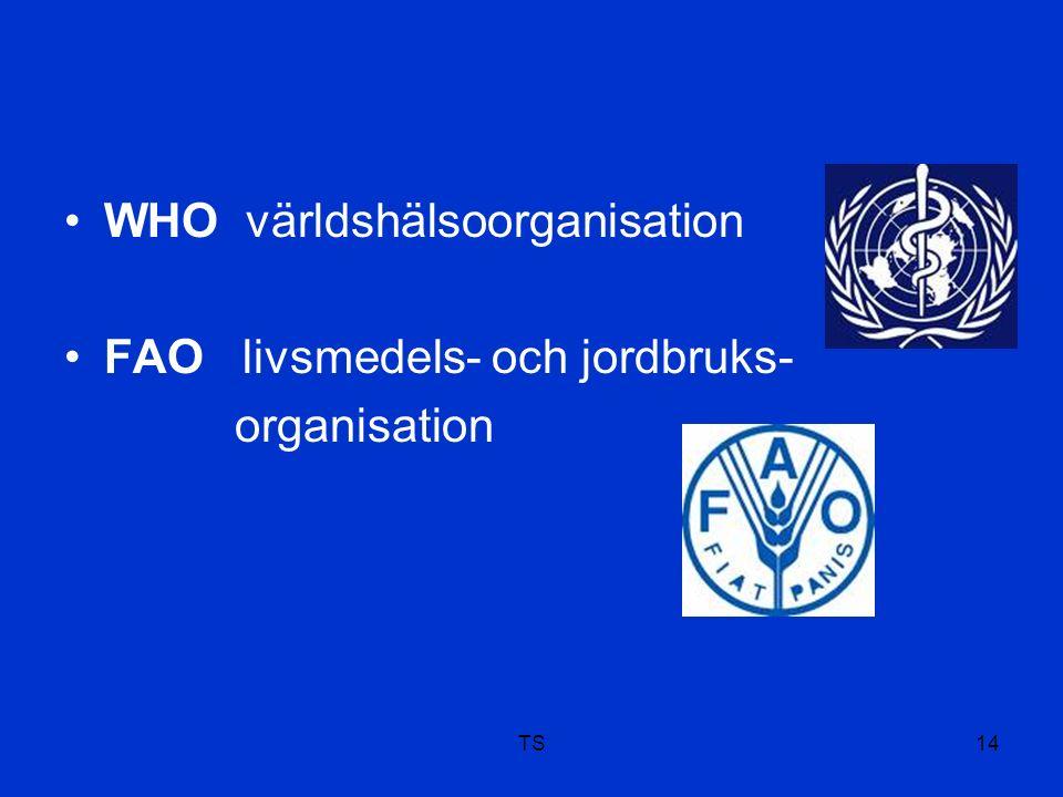 TS14 WHO världshälsoorganisation FAO livsmedels- och jordbruks- organisation