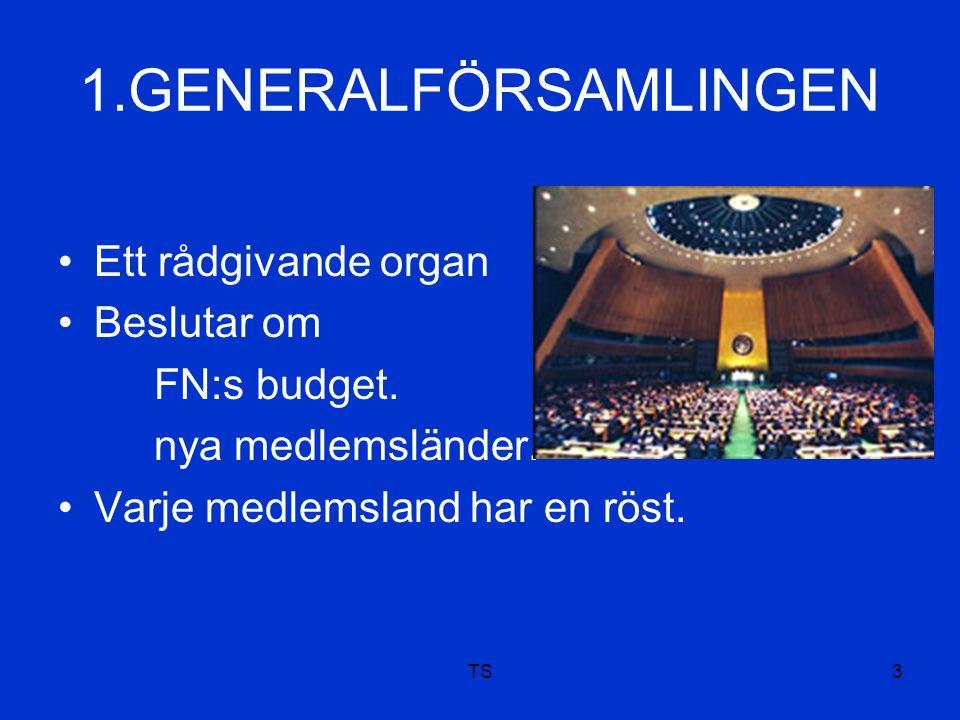 TS3 1.GENERALFÖRSAMLINGEN Ett rådgivande organ Beslutar om FN:s budget.