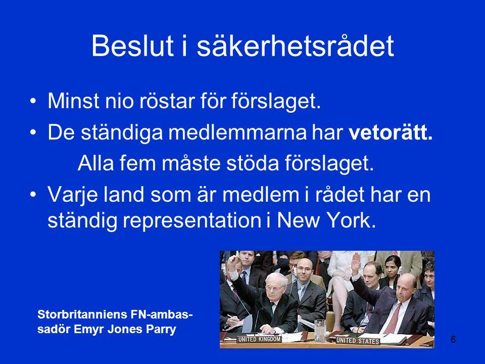 TS6 Beslut i säkerhetsrådet Minst nio röstar för förslaget.