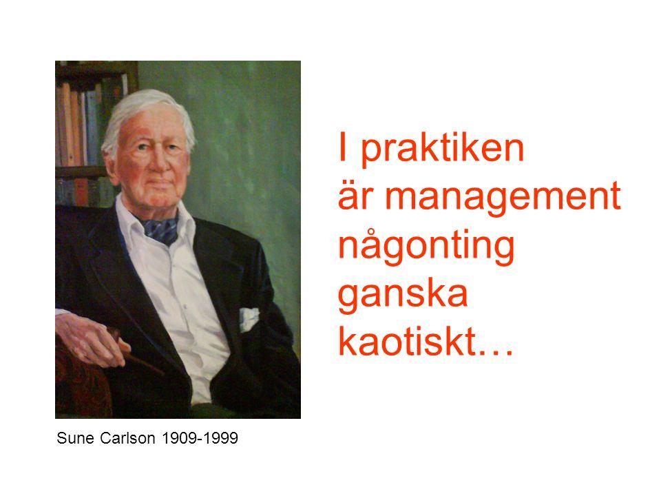 I praktiken är management någonting ganska kaotiskt… Sune Carlson 1909-1999