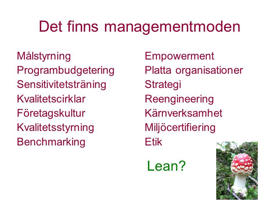 Det finns managementmoden Målstyrning Programbudgetering Sensitivitetsträning Kvalitetscirklar Företagskultur Kvalitetsstyrning Benchmarking Empowerme