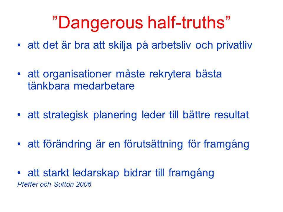 """""""Dangerous half-truths"""" att det är bra att skilja på arbetsliv och privatliv att organisationer måste rekrytera bästa tänkbara medarbetare att strateg"""