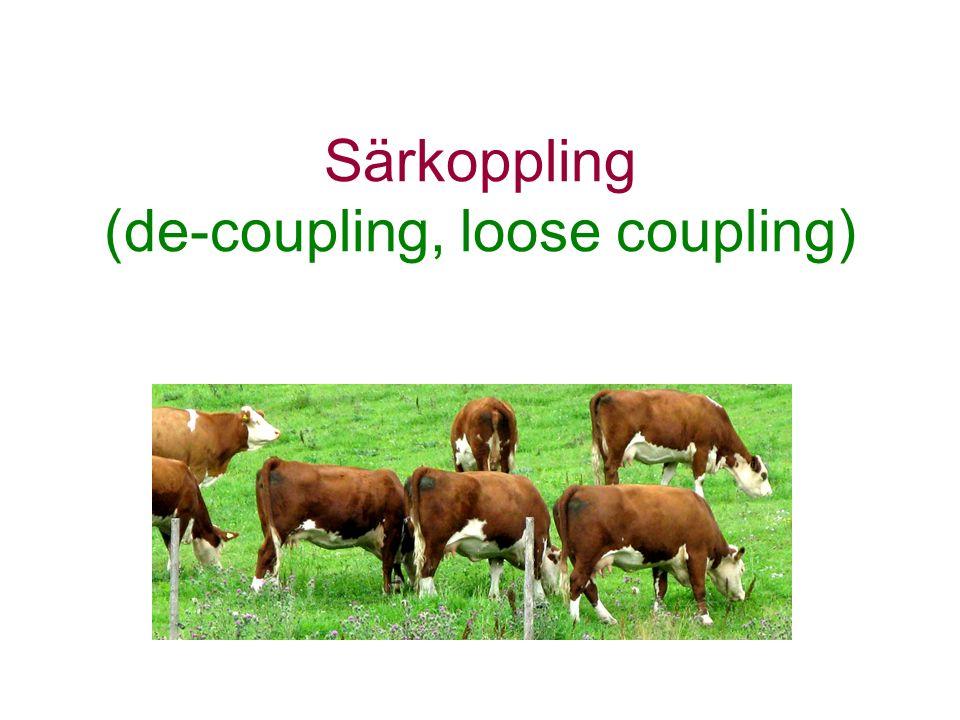 Särkoppling (de-coupling, loose coupling)