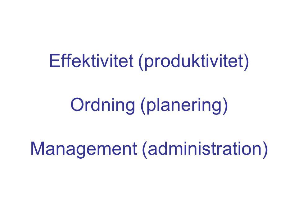 Effektivitet (produktivitet) Ordning (planering) Management (administration)