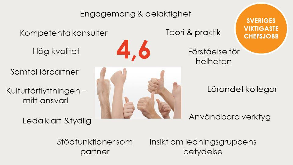 4,6 Hög kvalitet Kompetenta konsulter Lärandet kollegor Förståelse för helheten Teori & praktik Användbara verktyg Stödfunktioner som partner Samtal lärpartner Kulturförflyttningen – mitt ansvar.