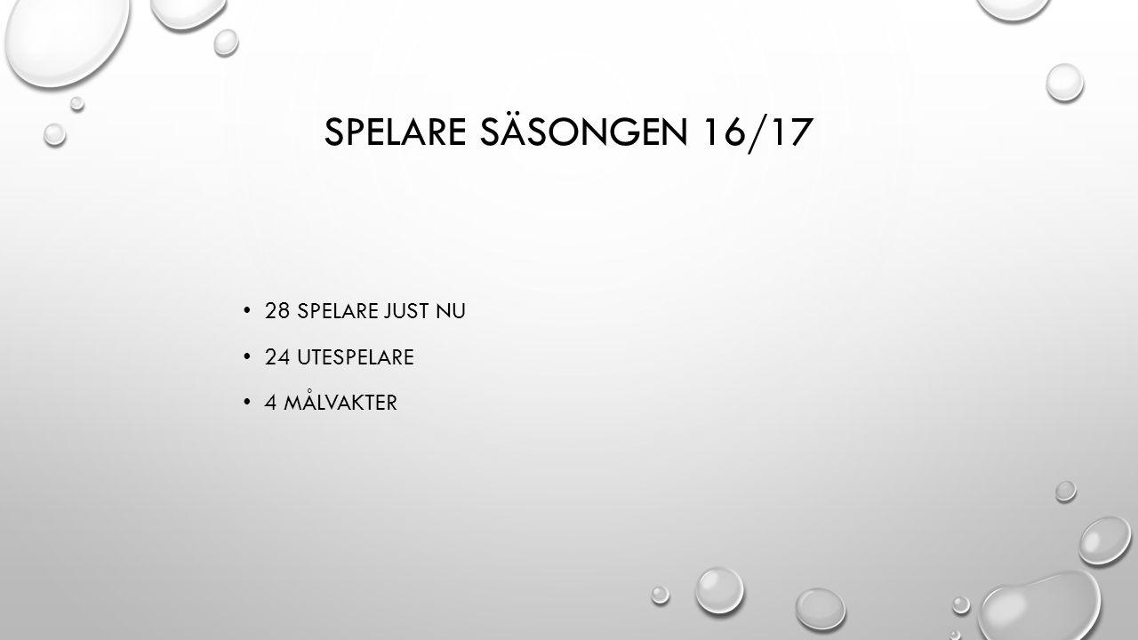 SPELARE SÄSONGEN 16/17 28 SPELARE JUST NU 24 UTESPELARE 4 MÅLVAKTER