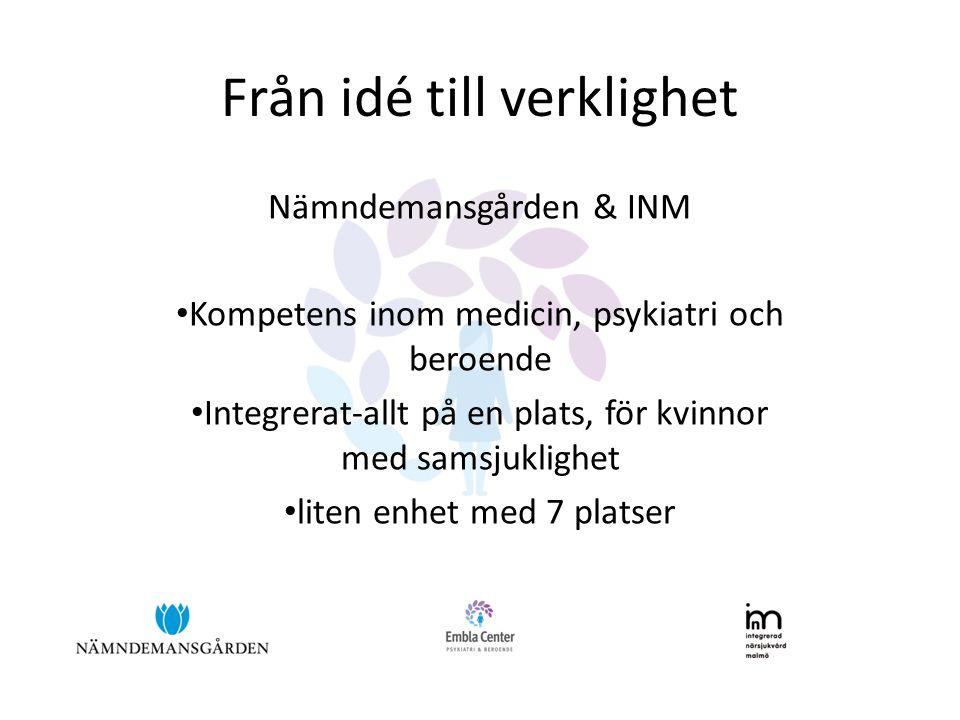 Från idé till verklighet Nämndemansgården & INM Kompetens inom medicin, psykiatri och beroende Integrerat-allt på en plats, för kvinnor med samsjuklighet liten enhet med 7 platser