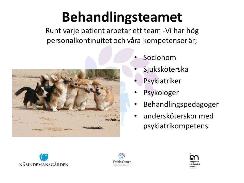 Behandlingsteamet Runt varje patient arbetar ett team -Vi har hög personalkontinuitet och våra kompetenser är; Socionom Sjuksköterska Psykiatriker Psykologer Behandlingspedagoger undersköterskor med psykiatrikompetens