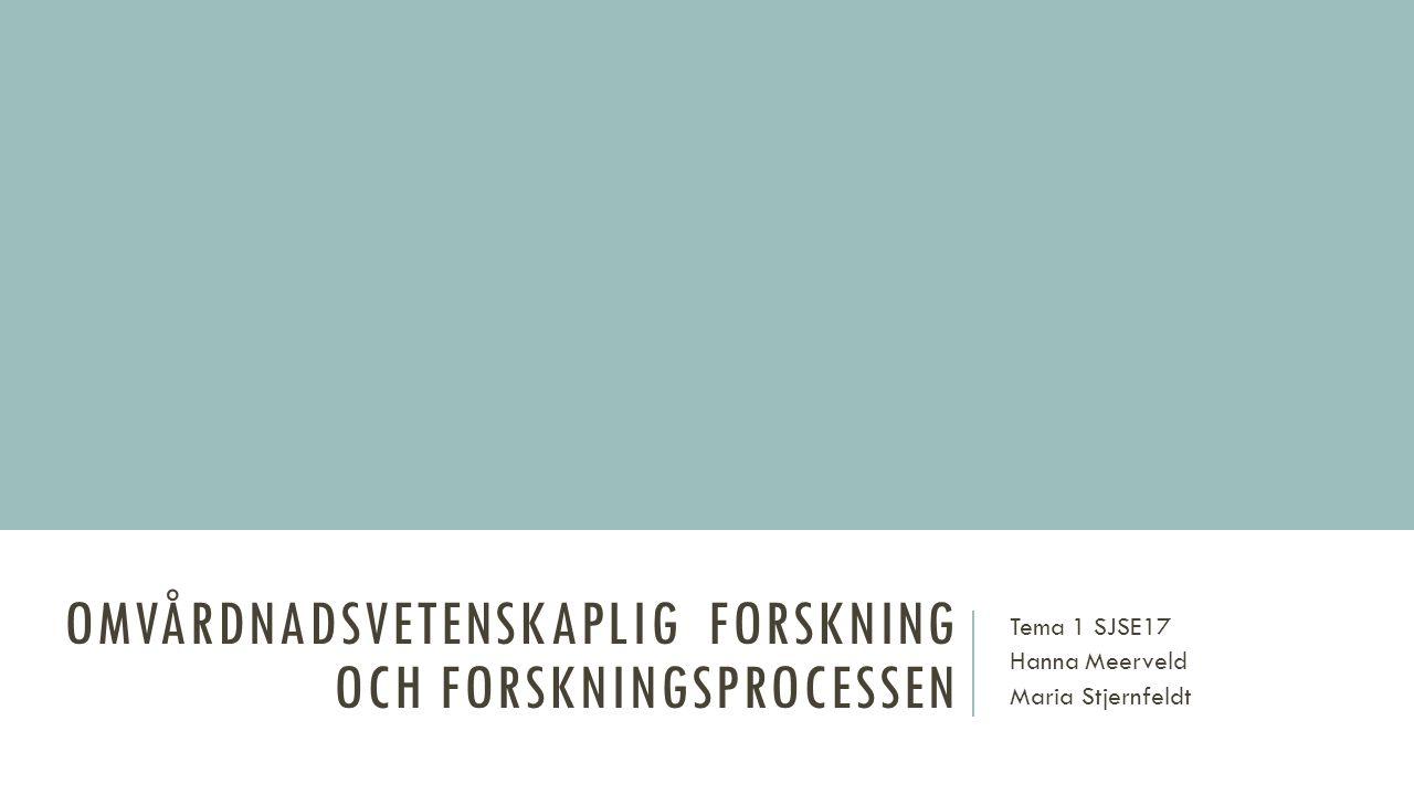 OMVÅRDNADSVETENSKAPLIG FORSKNING OCH FORSKNINGSPROCESSEN Tema 1 SJSE17 Hanna Meerveld Maria Stjernfeldt