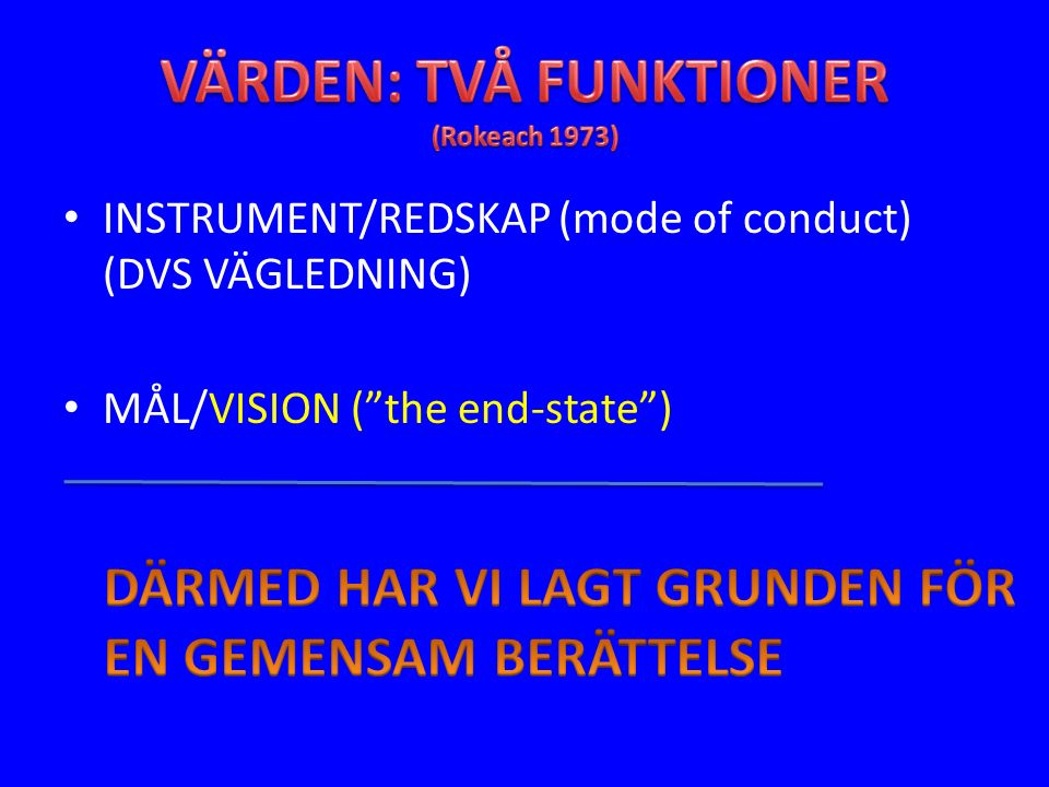 INSTRUMENT/REDSKAP (mode of conduct) (DVS VÄGLEDNING) MÅL/VISION ( the end-state )