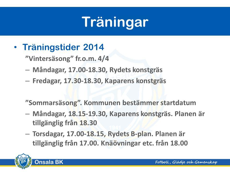 Träningstider 2014 Vintersäsong fr.o.m.