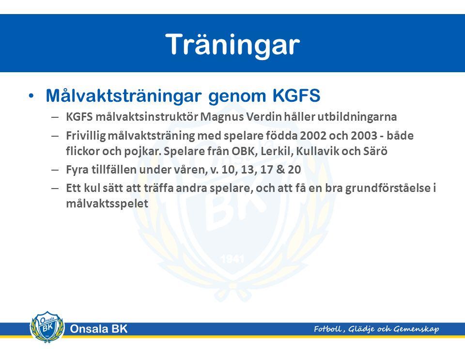 Målvaktsträningar genom KGFS – KGFS målvaktsinstruktör Magnus Verdin håller utbildningarna – Frivillig målvaktsträning med spelare födda 2002 och 2003 - både flickor och pojkar.