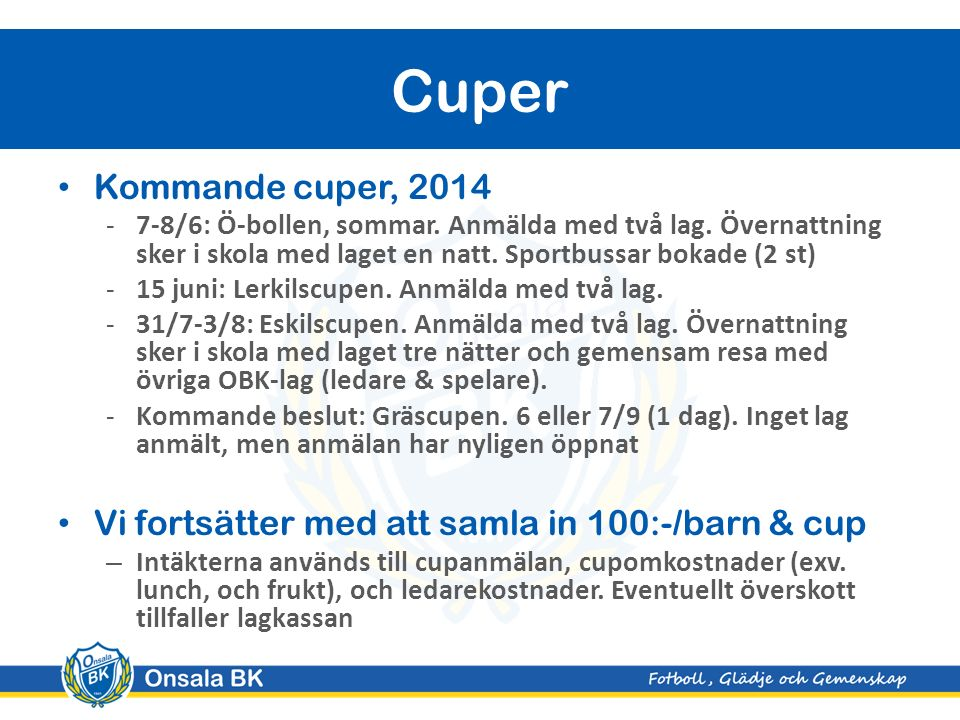 Kommande cuper, 2014 -7-8/6: Ö-bollen, sommar.Anmälda med två lag.