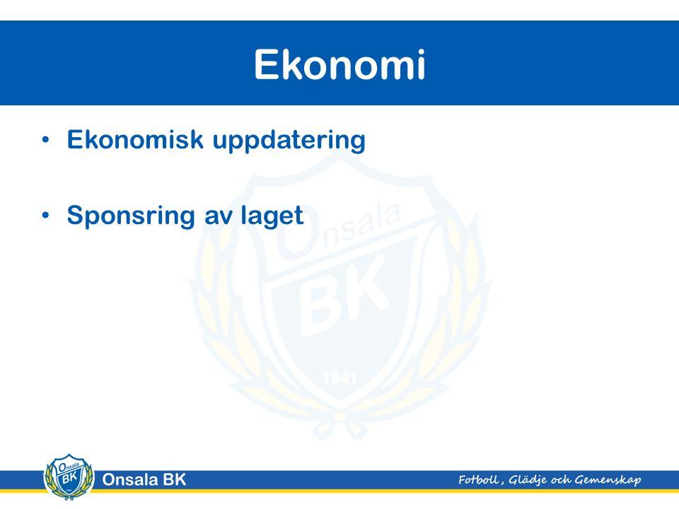 Ekonomisk uppdatering Sponsring av laget Ekonomi