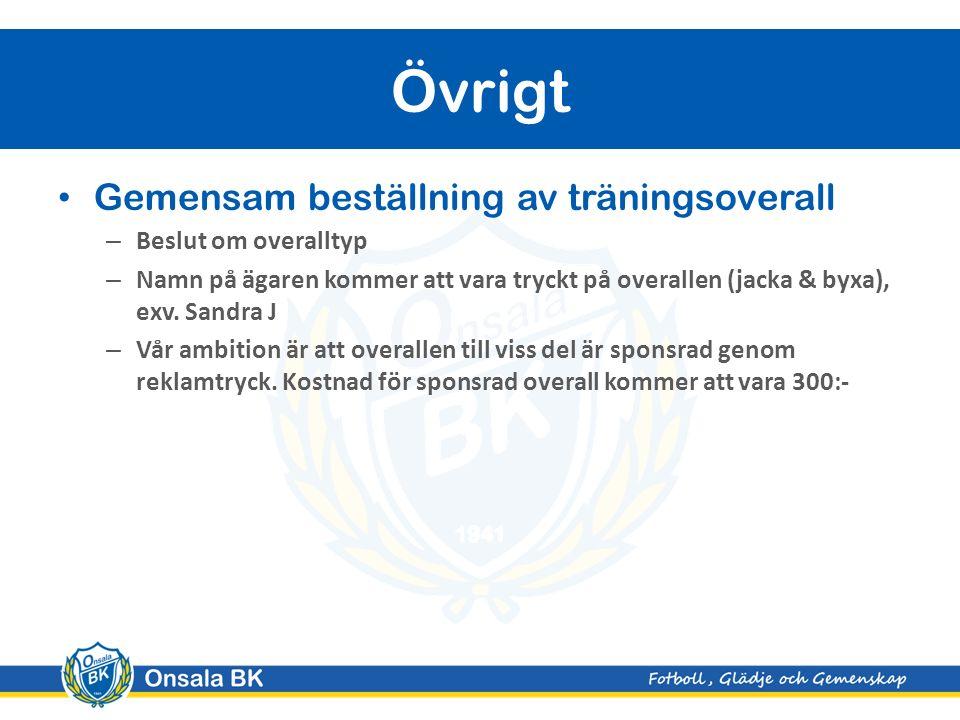 Gemensam beställning av träningsoverall – Beslut om overalltyp – Namn på ägaren kommer att vara tryckt på overallen (jacka & byxa), exv.