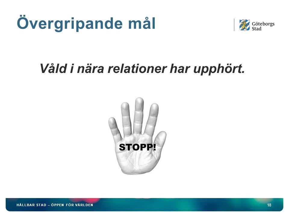 Övergripande mål 18 HÅLLBAR STAD – ÖPPEN FÖR VÄRLDEN Våld i nära relationer har upphört.