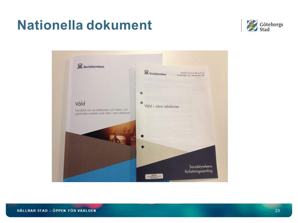 Nationella dokument 23 HÅLLBAR STAD – ÖPPEN FÖR VÄRLDEN