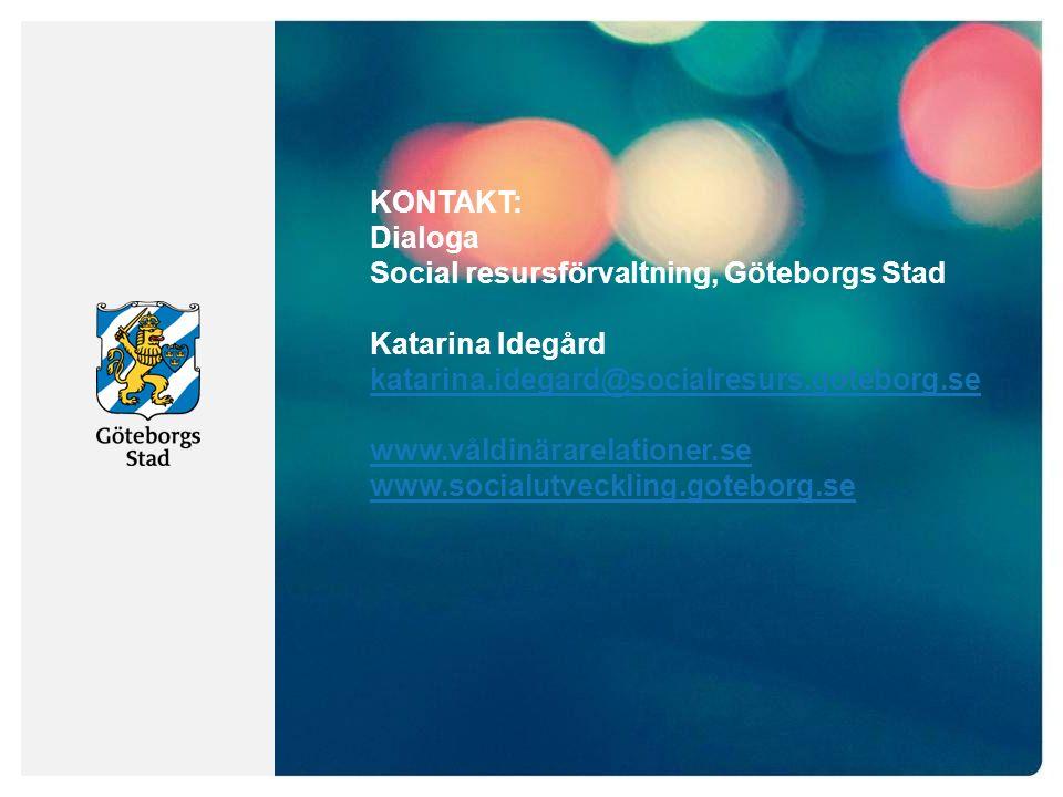 KONTAKT: Dialoga Social resursförvaltning, Göteborgs Stad Katarina Idegård katarina.idegard@socialresurs.goteborg.se katarina.idegard@socialresurs.goteborg.se www.våldinärarelationer.se www.socialutveckling.goteborg.se
