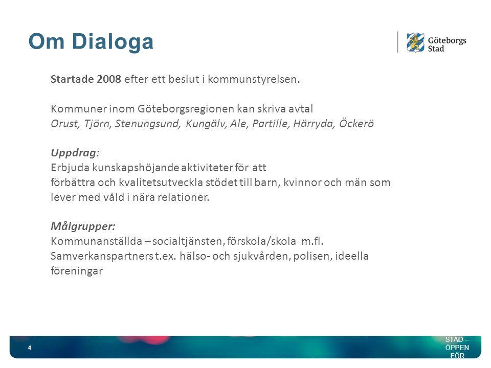 Om Dialoga 4 HÅLLB AR STAD – ÖPPEN FÖR VÄRLD EN Startade 2008 efter ett beslut i kommunstyrelsen.