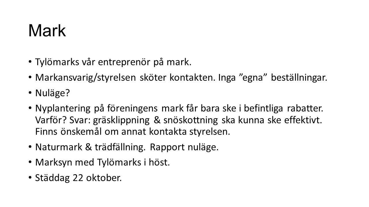 Mark Tylömarks vår entreprenör på mark.Markansvarig/styrelsen sköter kontakten.